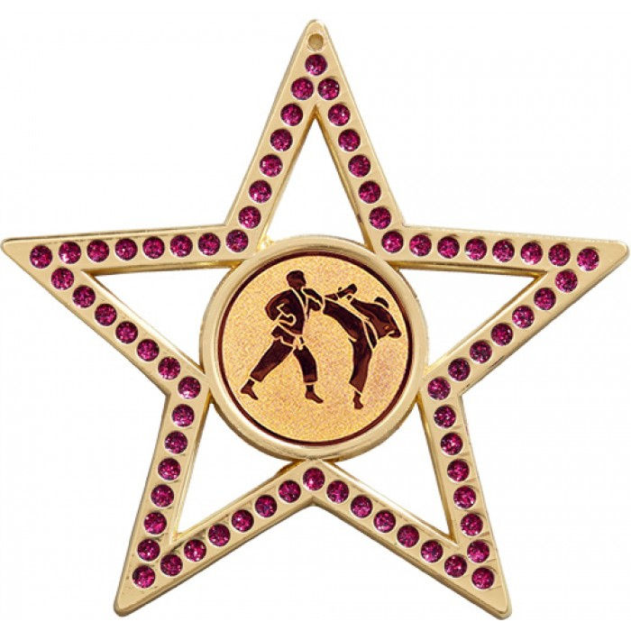 75MM PURPLE STAR MARTIAL ARTS MEDAL - GOLD, SILVER, BRONZE